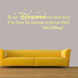 Details About Disney Quotes Wall Art Stickers Bedroom Decals All Our DREAMS  Walt Disney Kid D2