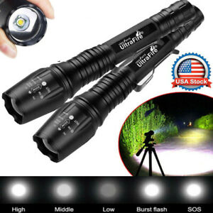 2X Tactical 350000LM Focus Zoomable LED High Power Flashlight Zoom Torch Lights