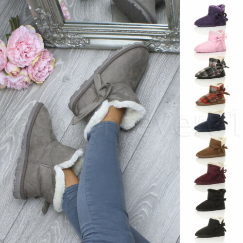 WOMENS LADIES FLUFFY FUR LINED COMFORT LOUNGE INDOOR BOOTS SLIPPERS BOOTIES SIZE