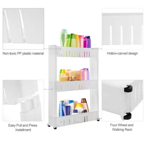 Rolling 3//4 Shelf Slim Can Spice Rack Holder Cart Home Kitchen Storage Cabinet