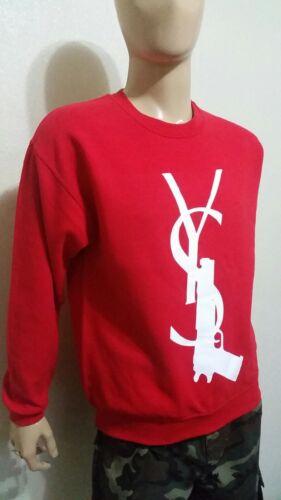 YS-GUN  RED   CREWNECK SWEATSHIRT  YSG hip hop 2pac nwa men death row shady slim