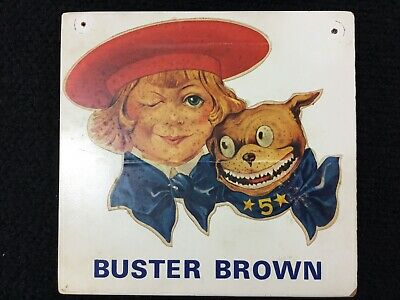 1950/'s Buster Brown Shoes Store Counter Standup Sign Repro Tige