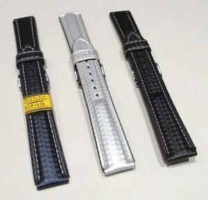 Uhrenband-Wasserfest-in-Carbon-Optik-UPE-15-weiss-blau-schwarz-in-18-20mm