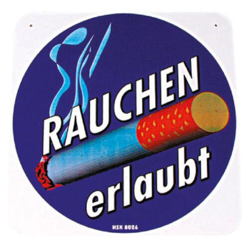 "PST-Schild /""Rauchen erlaubt/"" NEU 308026 ca Hinweisschild Gr 20x20cm"