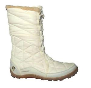 25F  Womens NWOB Columbia Boots POWDER SUMMIT II MID Faux Fur SEA SALT IVORY