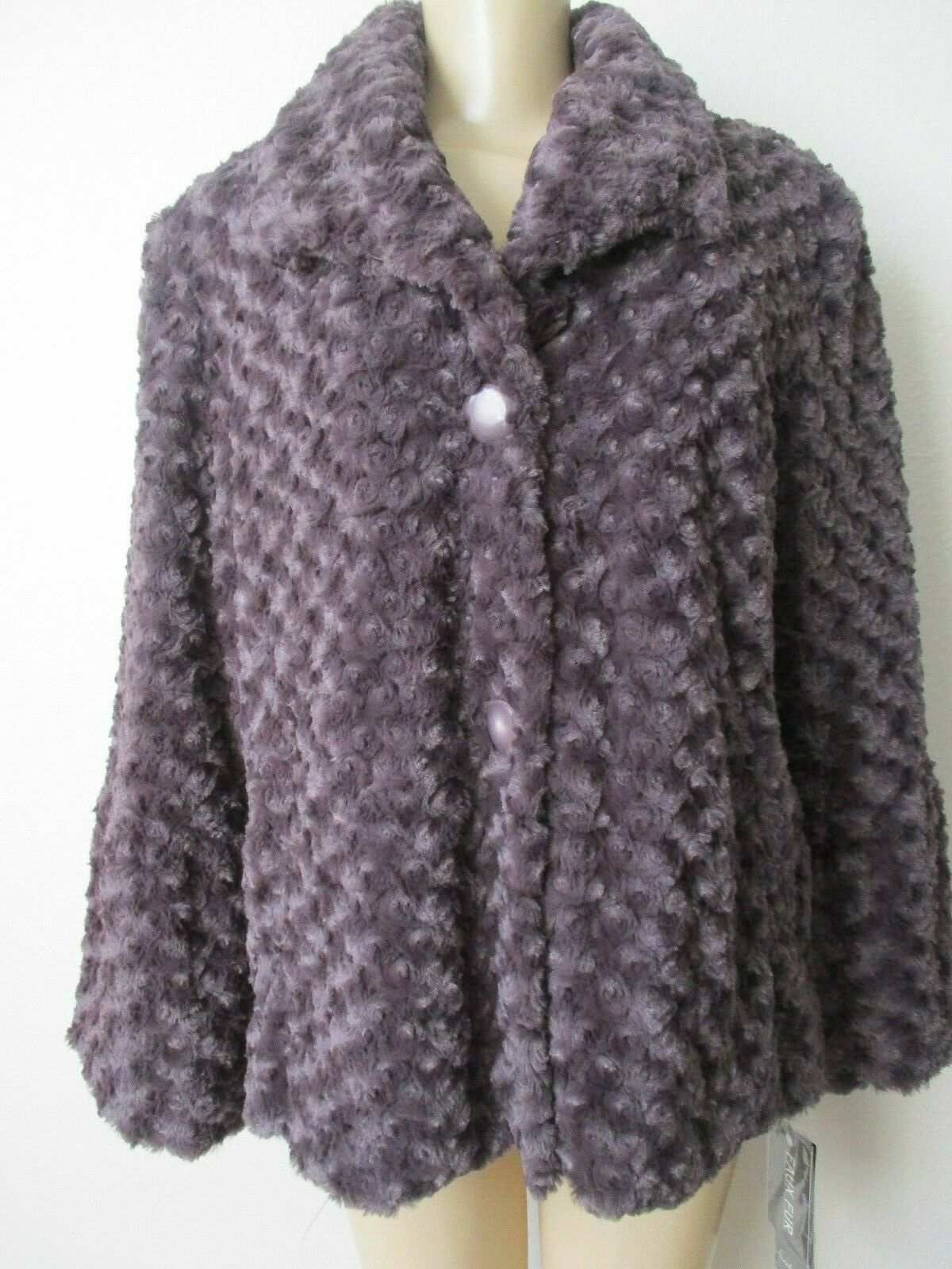 PAMELA MCCOY LIGHT PURPLE CURLY FAUX FUR LONG SLEEVE COAT SIZE L - NWT