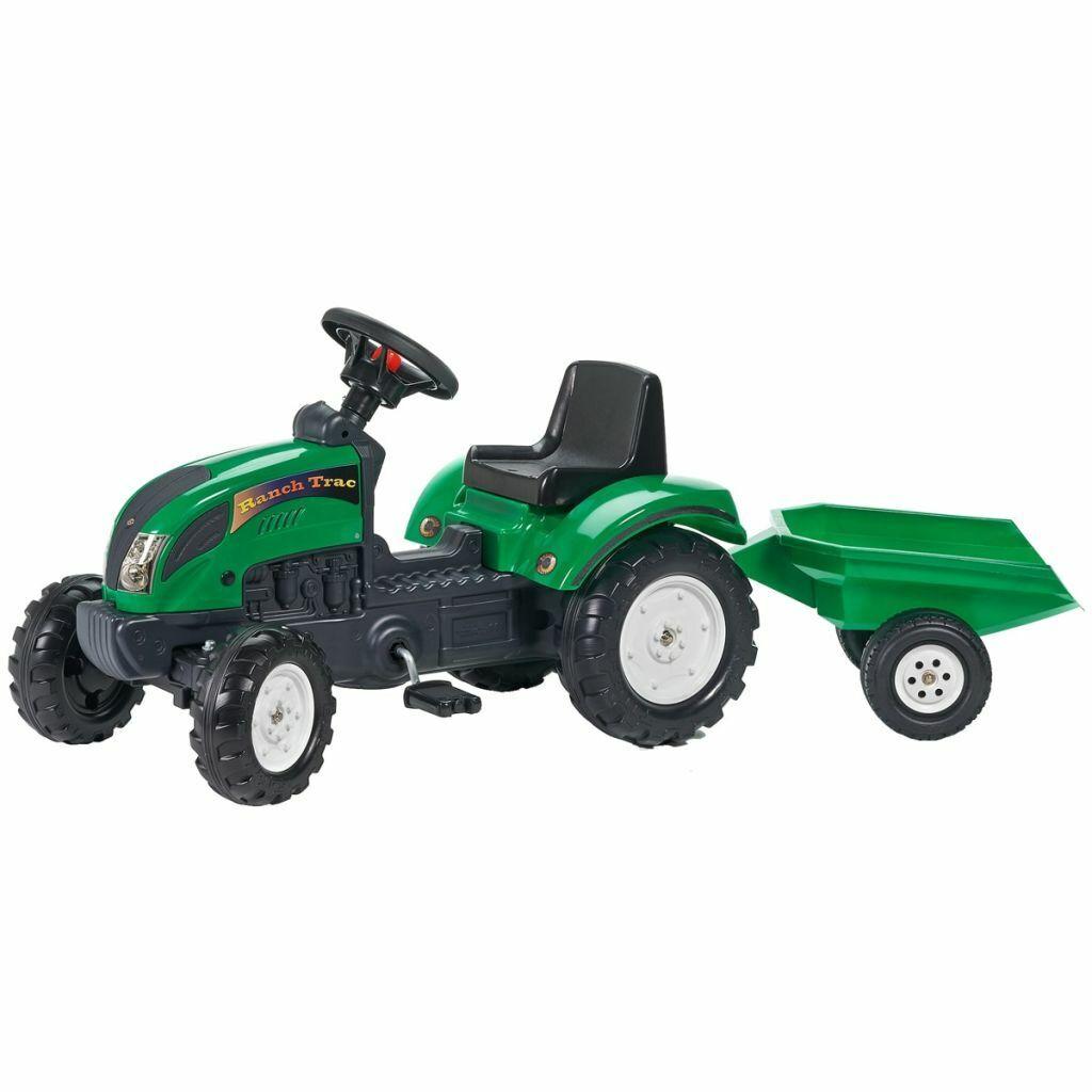 FALK Tracteur Vert avec Remorque à Deux Roues en Plastique  Véhicule Jouet  haute qualité générale