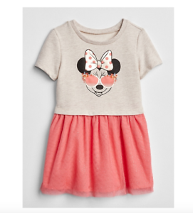 2 3 T BABY GAP KIDS Disney MINNIE MOUSE Pink Tulle Mix Fabric Dress Toddler NWT