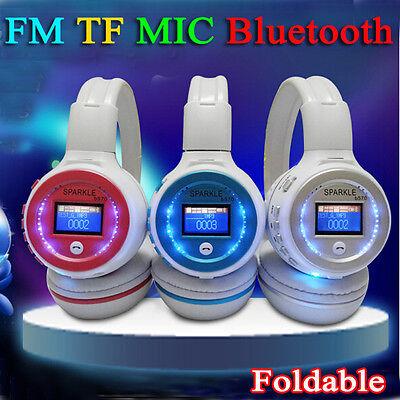HiFi Foldable Wireless bluetooth Stereo Headset Mic FM TF LCD Screen Headphone