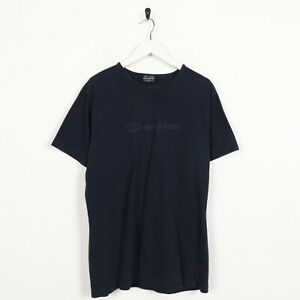 Vintage-Women-039-s-Champion-Big-enoncent-Logo-T-Shirt-Tee-Bleu-Marine-XL