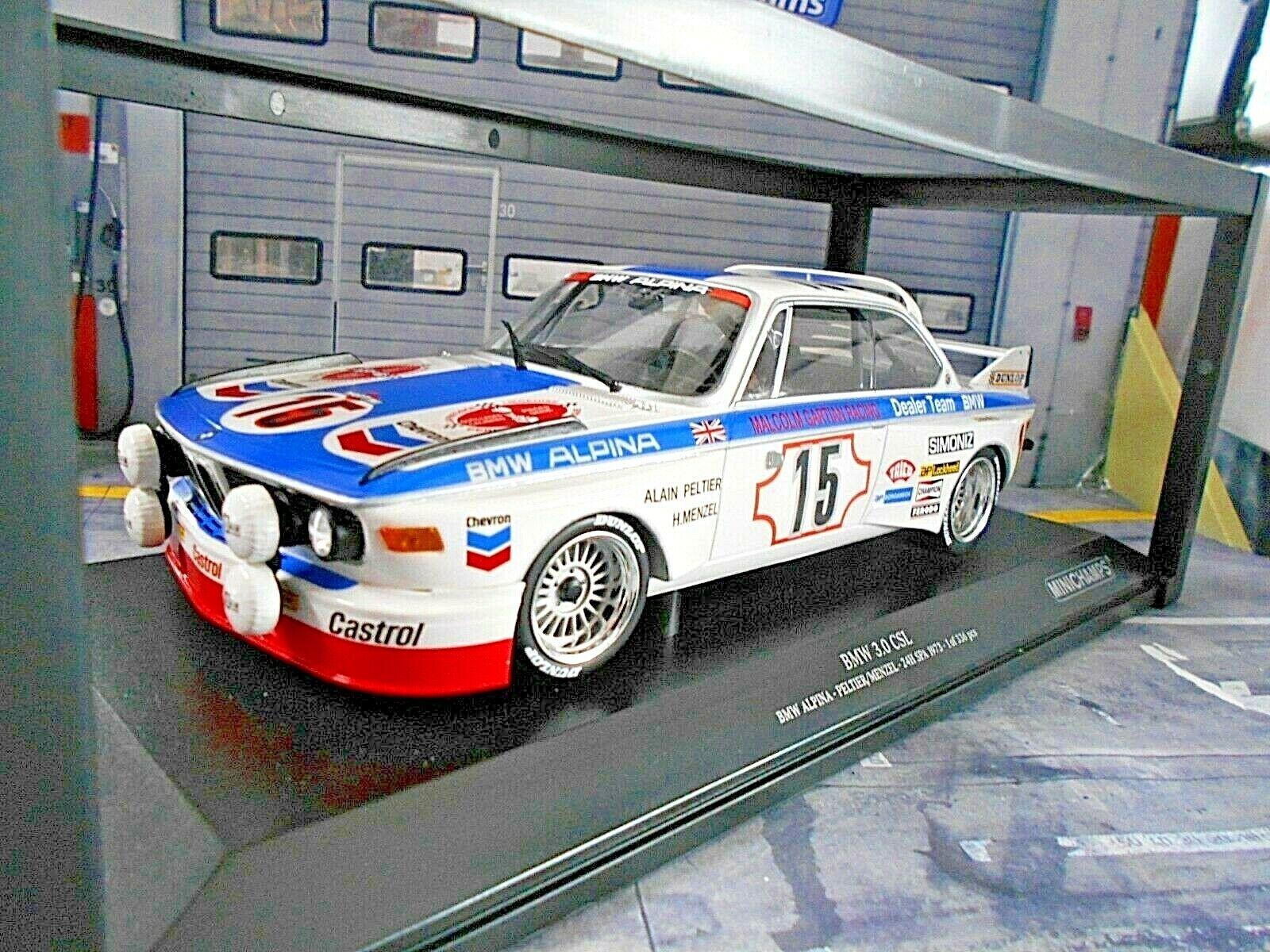 bienvenido a comprar Bmw 3.0 3.0 3.0 CSL 24h spa 1973  15 Peltier Menzel alpina dealer Chevro Minichamps 1 18  Precio por piso