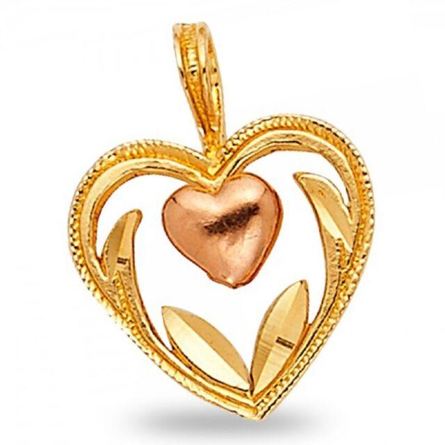 14k two tone gold half diamond cut heart pendant charm ebay 14k two tone gold half diamond cut heart pendant charm aloadofball Choice Image