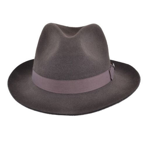 Gladwin Bond Brown Classic 100/% Wool Hand Made Felt Fedora Trilby Hat With Band