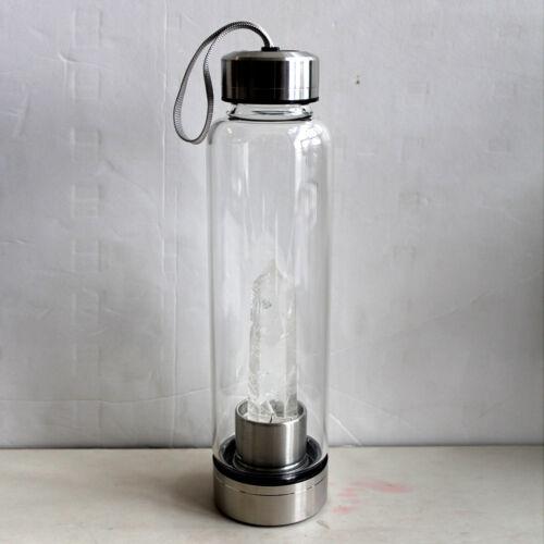 Natural Quartz Crystal Point Healing Obelisk Wand Elixir Crystal Water Bottle