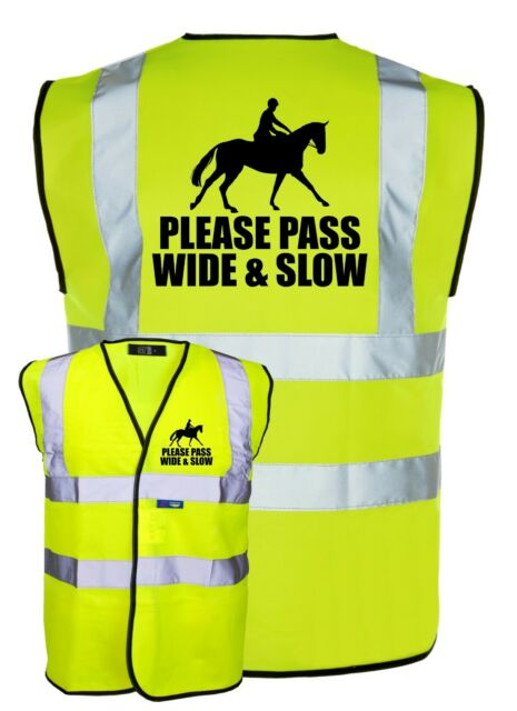 SLOW DOWN PLEASE BLUE YELLOW HI VIS SAFETY VEST WAISTCOAT JACKET EQUESTRIANHORSE