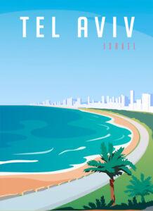 Tel-Aviv-Israel-retro-plaque-metal-Voyage-Art-glacoide-Vintage-Shabby-Chic