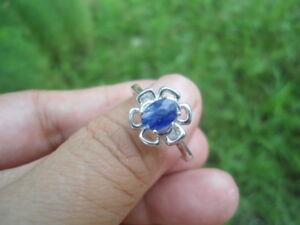 Natural-SAPPHIRE-September-Birthstone-925-STERLING-SILVER-Flower-RING-S8-75
