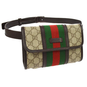 bb51f2a3ade8 Auth GUCCI GG Shelly Line Bum Bag Waist Pouch Brown PVC Leather ...