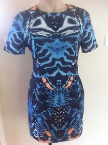 Ladies-Spicysugar-Dress-Size-10-Black-amp-Blue-Work-Fitted-Mini
