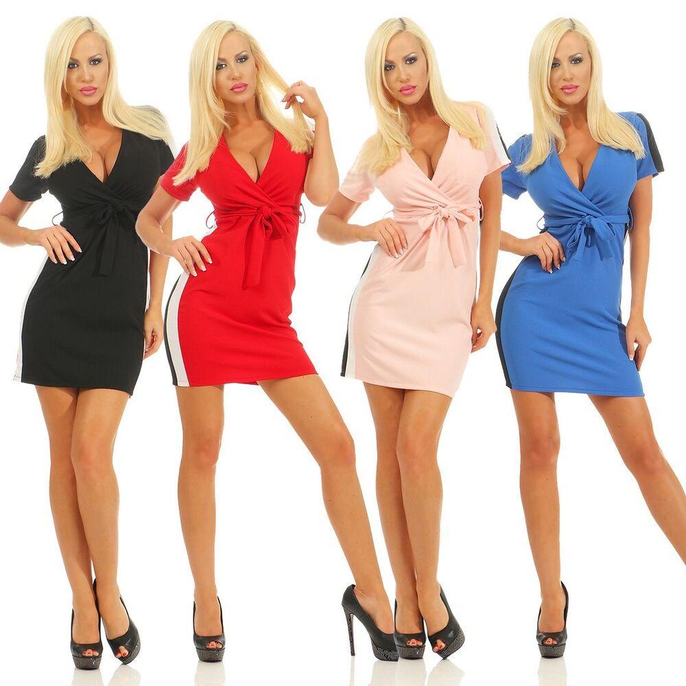 11152 Sexy Femmes Mini-robe Manches Courtes Shirt-robe à Langer Optique Rayures Encolure En V