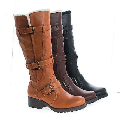 Capture07 Knee High Faux Shearling Lug Sole Moto Boots