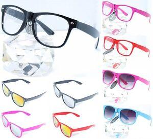 80s-Retro-Wayfarer-Nerd-Brille-Hornbrille-o-Staerke-Neu