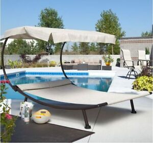 Image Is Loading Outdoor Chaise Lounge Double Patio With Canopy Pool