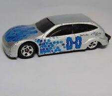 2001 Hot Wheels DieCast Metal FORD FOCUS Silver Blue Snake Design 1:64 Good Cond