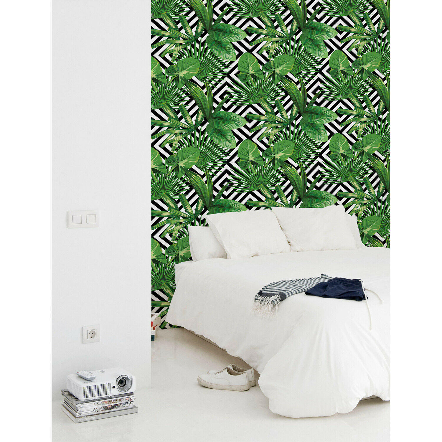 Geometric tropical leaves Non-Woven Wallpaper roll Weiß Home Mural Traditional
