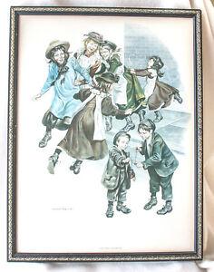 "Vintage Embleton Prints Lithograph Wall Art 12x16"" Set Of 3 Children Framed Superior Performance Decorative Arts"