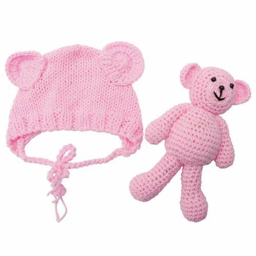 Newborn Baby Girl Boy Crochet Knit Costume Bear Hat Set Prop Photography Photo
