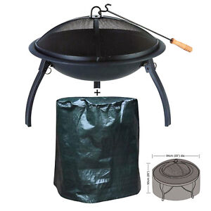 LARGE-BBQ-FIRE-PIT-amp-WATER-PROOF-COVER-GARDEN-PATIO-CAMPING-FOLDING-HEATER-GRILL