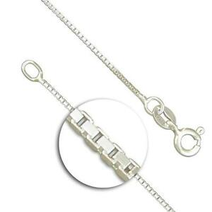 Solid-925-Sterling-Silver-Box-Chain-Necklace-14-16-18-20-Inch-0-8mm-Thick