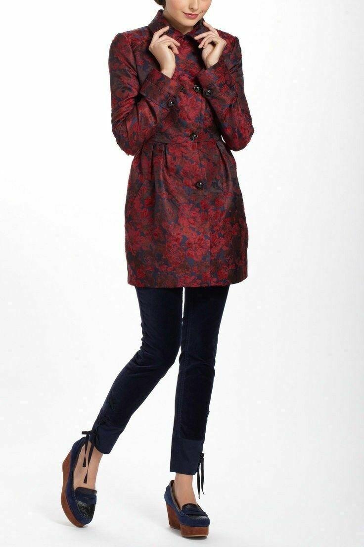 NEW Anthropologie Leifsdottir Red Navy Floral Victorian brocade coat 0  298