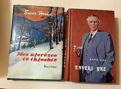 old4 albanian books-Enver Hoxha-communism time-illustrated 3 languages-rare