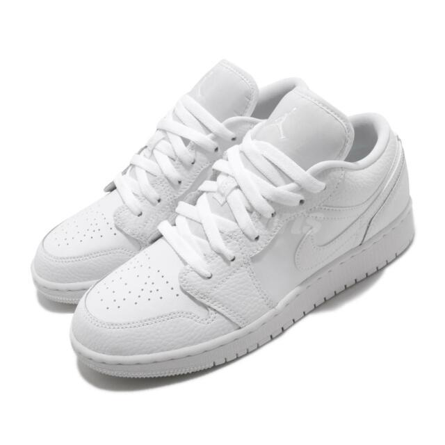 Nike Air Jordan 1 Low GS I AJ1 Triple White Kid Women Shoes Sneakers 553560-130