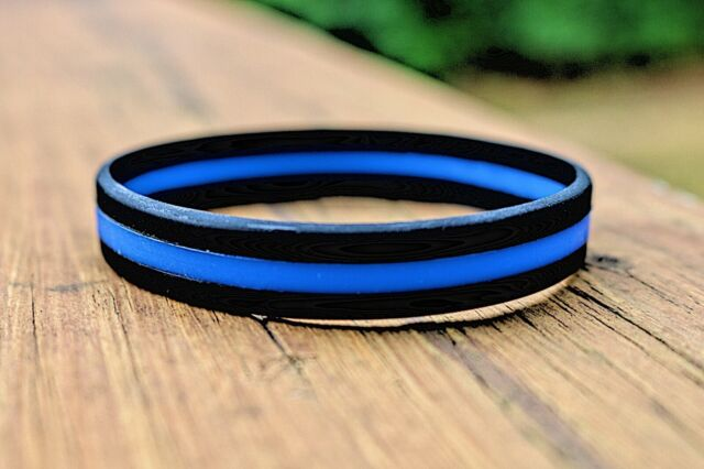 PakedDeals Slap Bracelet Retro Thin Blue Line Rubber Wristband Silicone Bracelet to Support Law Enforcement