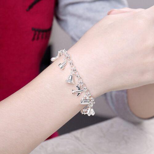 Fashion 925 Sterling Argent Massif Bijoux Cristal Charms Bracelet Pour Femmes H426