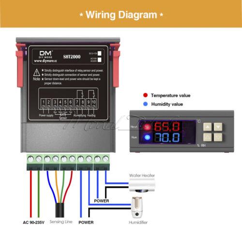 Probe AC 110~230V 10A SHT2000 Digital Temperature /& Humidity Control Thermostat