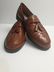 STANLEY-BLACKER-Loafers-Brown-Italian-Leather-Men-039-s-Shoe-039-s-Made-In-Italy-Size-9