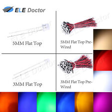 50 100 1000pcs 3 5mm Flat Top Water Clear Led Dc 9 12v Pre Wired White Red Blue