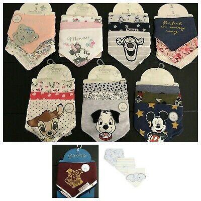 BANDANA BIBS 3 Pack DISNEY TIGGER MINNIE MICKEY DALMATIANS HARRY POTTER Primark