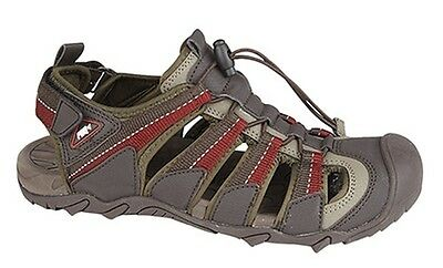 MENS SIZE 7 8 9 10 11 12 BROWN RED GREY VELCRO STRAP SPORTS WALKING SANDALS SHOE