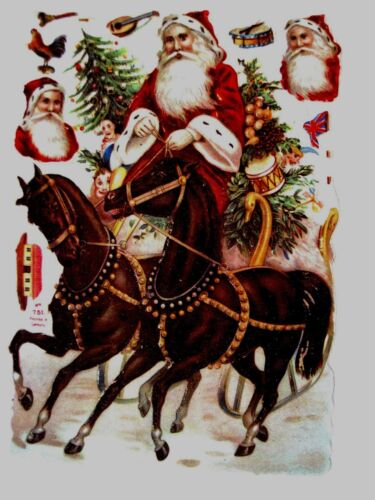 Vintage Victorian Antique Christmas Die Cut w Two Horses w Bells & Swan Sled