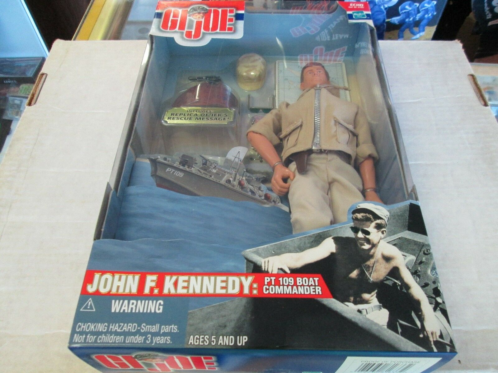 MIB GI Joe 12  John F. Kennedy PT 109 Boat Commander W  Replica Rescue MSG.