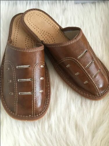 MENS 100/% NATURAL LEATHER SLIPPERS MULES CLOGS SHOES ALL SIZES