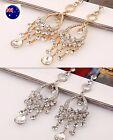Women gold silver Crystal chandelier Long Bohemian Party Earrings Ear Hook Drop