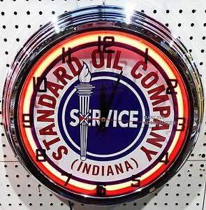 "17"" STANDARD OIL CO Indiana Sign Single Neon Clock Gas Gasoline Station Lube"