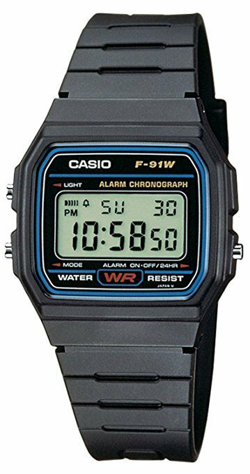 ORIGINAL CASIO F-91W ALARM CHRONOGRAPH CLASSIC DIGITAL STRAP ADULTS WATCH BLACK