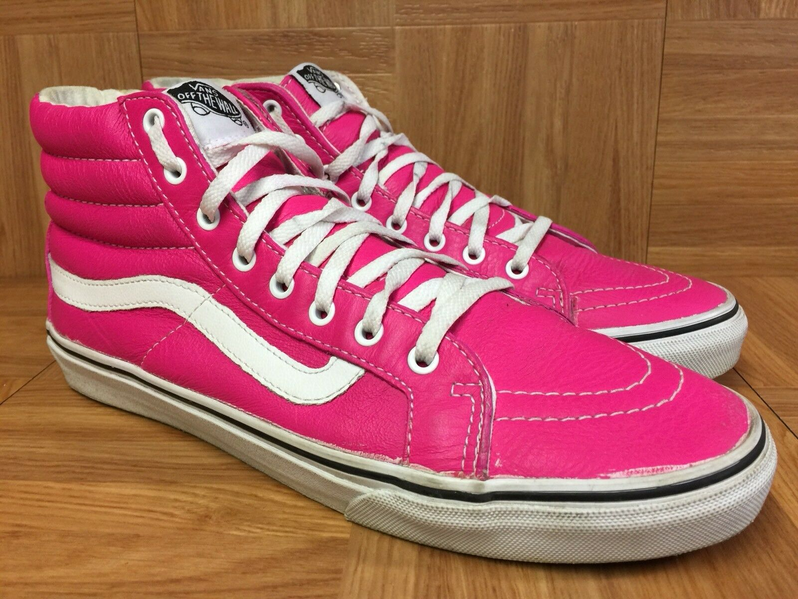 RARE VANS Sk8-Hi Iridescent Pink Leather shoes Sz 8 Men's - 9.5 Women's Cool
